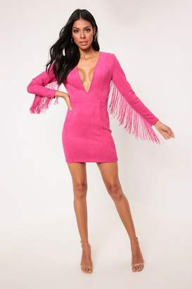 9162ff3257ba I SAW IT FIRST Pink Long Sleeve Suede Tassel Dress