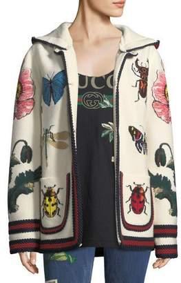 Gucci Fine Wool Cardigan with Intarsia