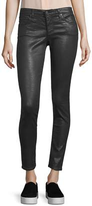AG Adriano Goldschmied Women's Leatherette Crinkle Coated Ankle Leggings