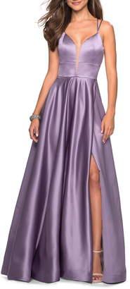 La Femme Strappy Back Satin Evening Dress