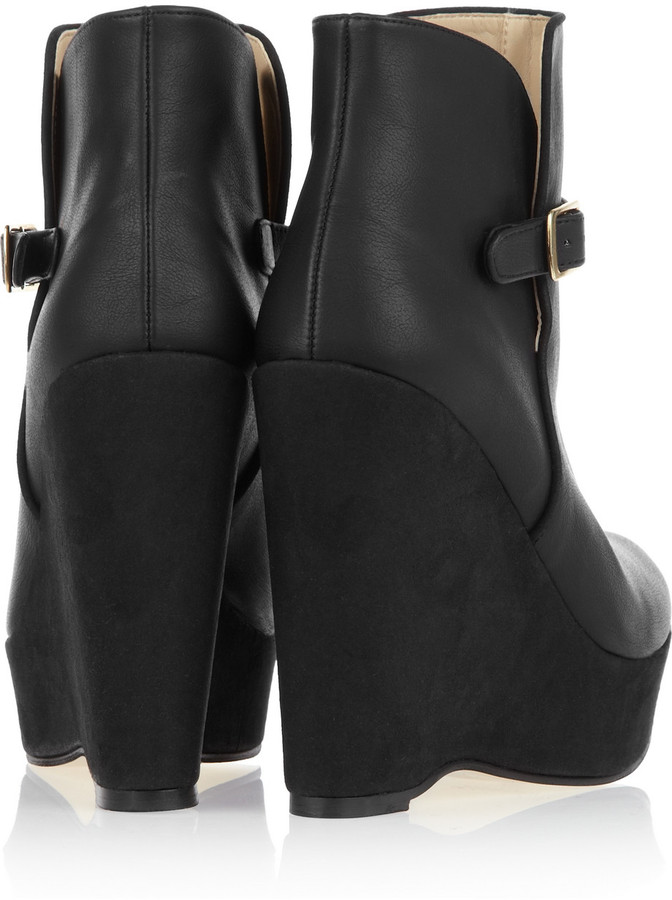 Stella McCartney Faux leather and faux suede wedge boots
