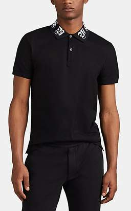 Alexander McQueen Men's Gothic-Logo Cotton Polo Shirt - Black