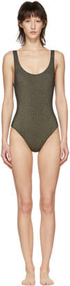 Solid And Striped Solid and Striped Grey and Gold The Anne-Marie One-Piece Swimsuit