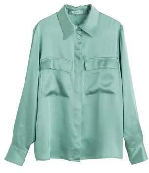 MANGO Chest-pocket satin blouse
