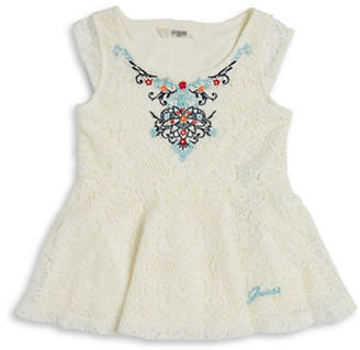 Guess Girls 2-6x Embroidered Lace Peplum Top $44.50 thestylecure.com