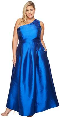 Sangria Plus Size Gown with Illusion Top Women's Dress