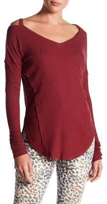 William Rast Ives Cold Shoulder Thermal Knit Top