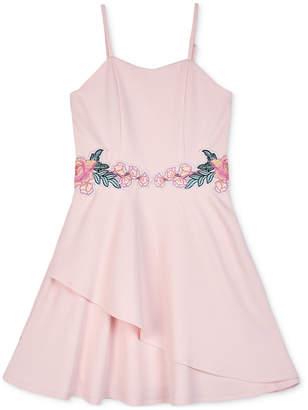 BCX Big Girls Floral Applique Skater Dress