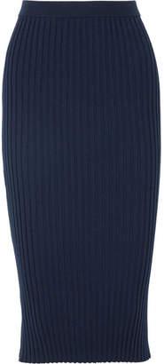 Joseph Zip-detailed Ribbed Merino Wool-blend Midi Skirt - Navy