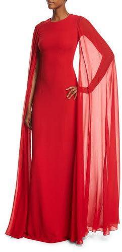 MICHAEL Michael KorsMichael Kors Collection Silk Crepe Chiffon Cape Gown, Crimson