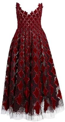 Oscar de la Renta Strapless Velvet & Tulle Tea-Length Dress