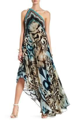 Shahida Parides Convertible Print Hi-Lo Maxi Dress