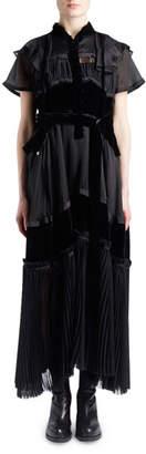 Sacai Short-Sleeve Satin Chiffon & Velvet Mixed-Media Boho Long Dress