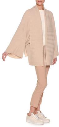 Agnona Mixed-Rib Tie-Front Cashmere Kimono Cardigan