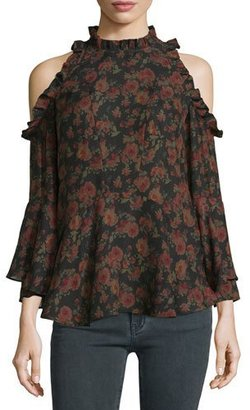 Iro Eloane Floral Silk Cold-Shoulder Blouse, Black/Khaki $228 thestylecure.com