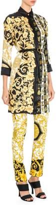 Versace Hibiscus Print Belted Shirtdress Tunic