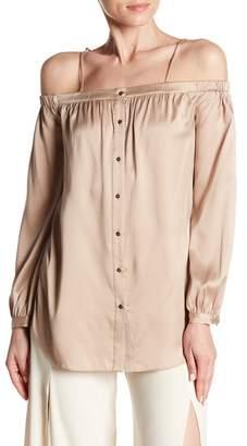 Haute Hippie Vivien Front Button Cold Shoulder Blouse