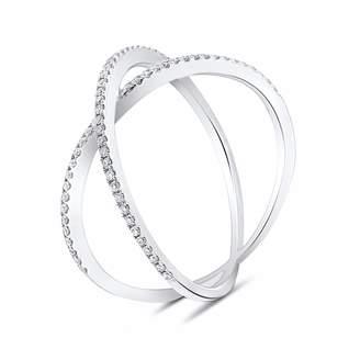 Cosanuova - Dainty X Diamond Ring 18k White Gold