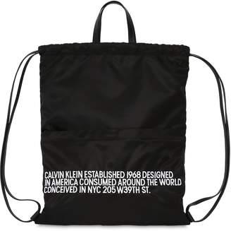 Calvin Klein Embroidered Nylon Drawstring Backpack