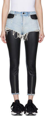 Alexander Wang Black and Blue Leather Hybridmoto Pants