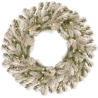 """National Tree Company 24"""" Feel Real Snowy Sheffield Spruce Wreath With 50 Battery-Operated Led Lights & Timer"""
