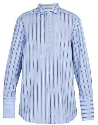 Gucci Exaggerated Cuff Striped Cotton Shirt - Mens - Blue