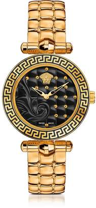 Versace Micro Vanitas PVD Gold Plated Women's Watch w/Baroque Black Dial