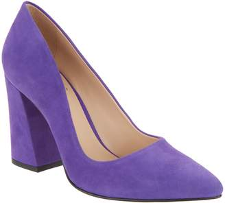 Vince Camuto Suede Pointy Toe Block Heel Pumps - Talise