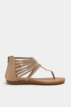 Ardene Caged T-Strap Sandals