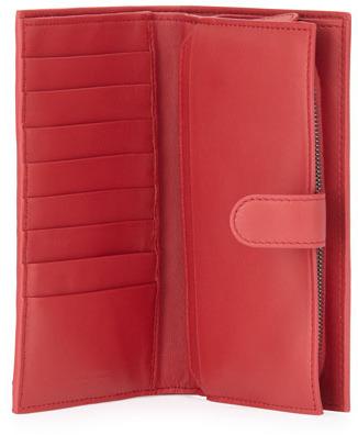 Bottega Veneta Woven Continental Wallet, Dark Red
