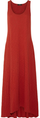 Theory - Laurem Asymmetric Slub Cotton-jersey Maxi Dress - Claret $225 thestylecure.com
