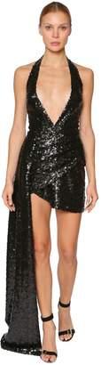 Elie Saab Sequined Asymmetric Mini Dress