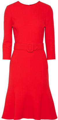 Oscar de la Renta Belted Wool-blend Dress - Red