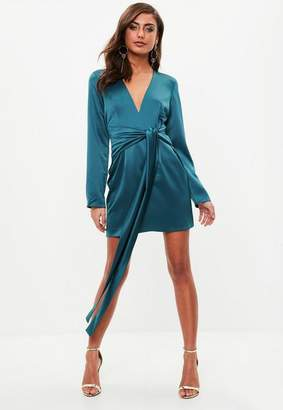 Missguided Teal Satin Tie Waist Dress, Green