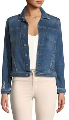 L'Agence Celine Button-Down Slim Denim Jacket