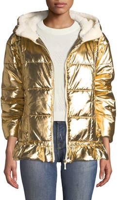 Kate Spade Metallic Puffer Jacket With Sherpa Lining