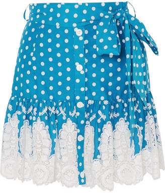Miguelina Emy Crocheted Polka-dot Cotton Mini Skirt - Azure