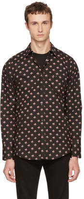 DSQUARED2 Black and Pink Floral Western Shirt