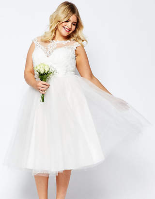 Asos BRIDAL Lace Sweetheart Tutu Midi Dress