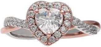 Primrose PRIMROSE Two Tone Sterling Silver Cubic Zirconia Heart Ring