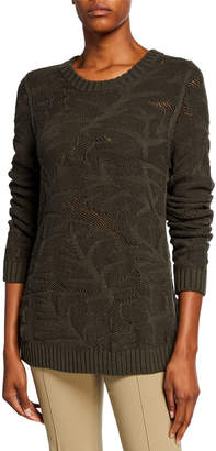 Akris Punto Chunky Leaf Jacquard Sweater