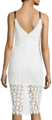 Milly Jessie Lace V-Back Sleeveless Cocktail Dress