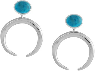 Turquoise Polished Crescent Earrings, Sterling