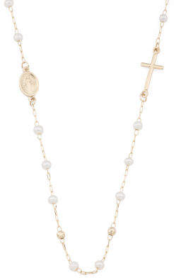 Made In Italy 14k Gold Pearl East West Cross Rosary Necklace