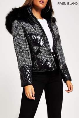 River Island Womens Mono Check Boucle Mix Tatiana Padded Jacket - Natural