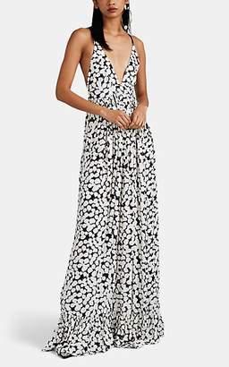 Proenza Schouler Women's Painted-Dot Crepe Maxi Dress - White Pat.