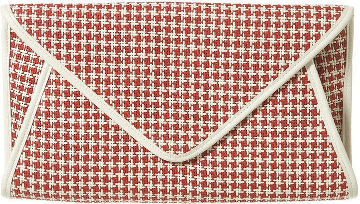 Check Straw Envelope Clutch