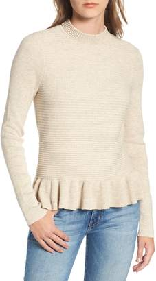 Hinge Ruffle Hem Mock Neck Sweater
