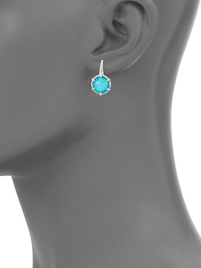 Judith Ripka Eclipse Turquoise & Sterling Silver Round Drop Earrings