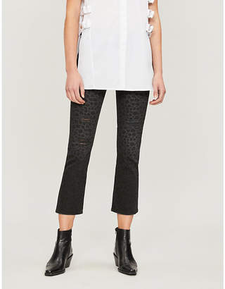 The Kooples Cropped leopard-print flared jeans
